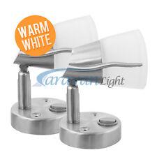 2 x 12V Frosted Glass LED Mini Spot Light Reading Lamp Warm White Caravan/RV