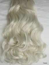 "17-19"" Clip in Hair Extension Curly Wavy Silver White Blonde 010W Full Head 8pcs"