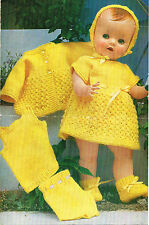 """Dolls  clothes knitting pattern.16- and 20"""" doll.  Laminated copy. (V Doll 01)"""
