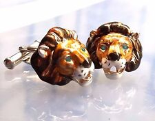 LION CUFFLINKS, STERLING SILVEREnamel, Blue Topaz Eyes by G.DANILOFF&CO.