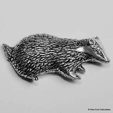 Badger Pewter Pin Brooch - British Hand Crafted - Hunting Farming Brock Animal
