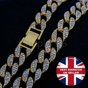 Mens Iced Out Diamond Thick Miami Cuban Link Chain Necklace Jewellery Gift Xmas