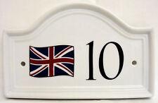 Union Jack CASA PORTA NUMERO PLACCA Bandiera Britannica Casa in Ceramica firmare QUALSIASI NUMERO