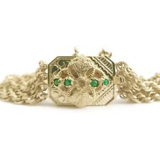 Vintage Green Jade 14K Yellow Gold Chain Link Bracelet, 6.75 Inches, 23.96 Grams