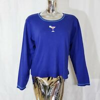 Hue Womens Royal Blue Martini Glass Long Sleeved Tshirt Top XL