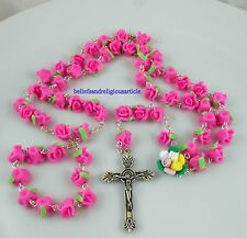 Pink Soft Ceramic ROSE BEADS ROSARY & CROSS Crucifix Protestant Necklace gift