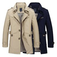Men Lapel Collar Trench Coat Windbreaker Jacket Parka Spring Fashion Casual New
