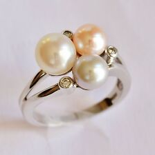 CULTURED PEARL RING COLOURED PEARLS GENUINE DIAMONDS 14K WHITE GOLD SIZE S NEW