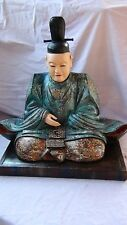 LARGE ANTIQUE JAPANESE EDO PERIOD WOOD CARVED SEATED BUDDHIST MONK FIGURE