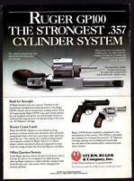 1989 RUGER GP100 .357 Revolver PRINT AD