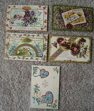 New Year Greeting Lot 5 Vintage Embossed Postcards Made in Germany Flowers Pansy
