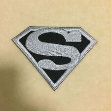 SUPERHERO SUPERMAN SUPER MAN LOGO EMBROIDERY IRON ON PATCH BADGE #GRAY