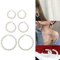 Elegante Perlen Runde Creolen Frauen Übergröße Perle Kreis Schmuck