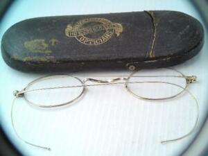 ANTIQUE 19TH CENTURY SOLID 14K GOLD EYEGLASSES SPECTACLES IN CASE