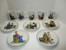 Vintage 1984 Set of 5 Norman Rockwell Mugs and 5 Mini Plates