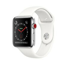 Apple Watch Series 3 42mm Stainless Steel Case w/ White Sport Band (GPS +Cell)