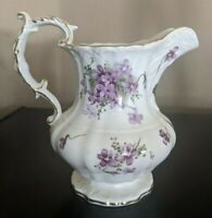 Antique Victorian Violets Pitcher with Gold Trim  Hammersley of England China