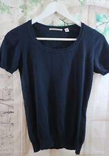 Women's UNIQLO Thin knit Navy Blue Short Sleeve Jumper - XS