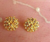 Stud Earrings lovely gold tone earrings with clear crystals gift UK FREE P&P