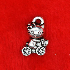 15 x Hello Kitty Tibetan Silver Charm Pendant Finding Bracelet Necklace Making B