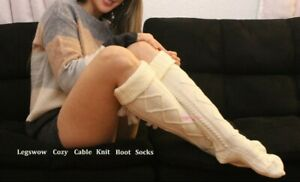 Long Cable Knit Tassel Over The Knee High Socks Womens OTK Soft Cozy Boot Bed