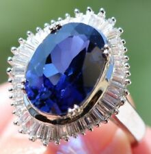 925 Sterling Silver PM 13x9mm Oval Cut Blue Sapphire White Halo Ring Size 7 5.6g