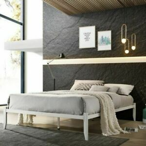 Modern 4ft6 Double Low Platform Style White Metal Bed Frame Loft Bed