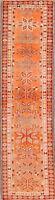 Geometric Muted ORANGE Anatolian Runner Rug Hand-Knotted Oriental Carpet 3'x10'