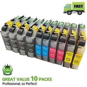 10 Ink Cartridges for Brother LC233 DCP-J4120DW MFC-J4620DW MFC-J5720DW