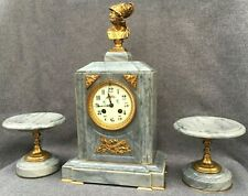 Huge antique french 19th century fireplace set clock vases bronze marble Empire