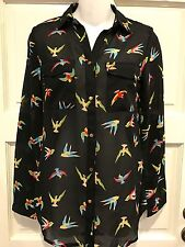 Asos Sheer Black Tropical Bird Blouse Button Down Long Sleeve Gold Buttons Sz 8