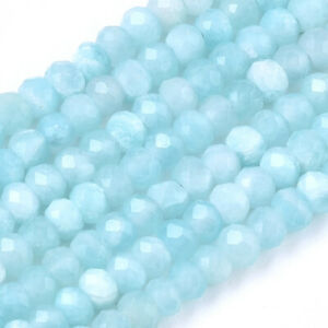 3 Strd 3mm Natural Amazonite Stone Rondelle Beads Tiny Faceted Loose Spacer Bead