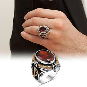 Solid 925 Sterling Silver Alif Vav Design Red Zircon Stone Men's Ring