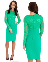Goddess Jade Long Lace Sleeve Bengaline Fitted Cocktail Party Evening Dress