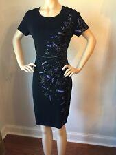 NWT St John Knit dress Size 16 black santana evening dress wool rayon