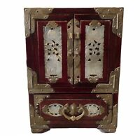 ANTIQUE CHINESE JEWELRY BOX - Nephrite Jade Rosewood Brass w/Silk Lined Drawers