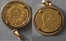 Pièce de 10 francs de 1857 - Napoléon III - Incrustée dans un médaillon