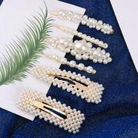 12Pcs/Set Women Big Imitation Pearl Beads Hair Clips Fashion Simple Barrettes CY