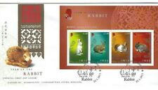 Hong Kong FDC 2011 Year of Rabbit, FDC, Postmark Souvenir Sheetlet