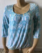 CHICOS Womens Size 0 Scoop Neck Water Color 3/4 Sleeve Bubble Shirt Blouse