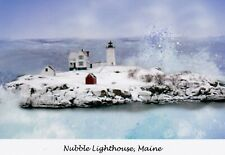 Nubble Lighthouse in the snow, ME - Giclee greeting card by Jean McLean