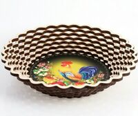 Cookie Snack Chips Candy Serving Platter Bowl Dish w/ ROOSTER COCKEREL Pattern