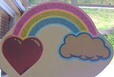 Vintage 70s Rainbow Heart Cloud Mini Iron On Transfer Fun Emoji Fantasy RARE!