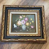 "R. Hunther Vintage Oil Painting Vase Flowers Bouquet Still Life 15"" X 18"" Framed"