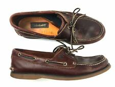 Timberland Classic Heritage 3 Eye Lug Boat Shoes Brown Leather Mens Size 12W