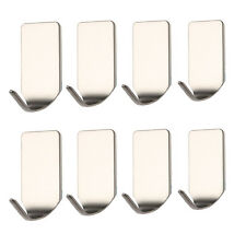 8 Pcs Bathroom Stainless 3M Self Adhesive Sticky Hooks Wall Storage Hanger USA