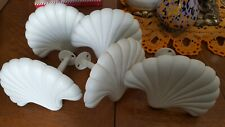 Lot of 5 Heavy White Metal Scallop Shell Curtain Tie Backs or coat hooks