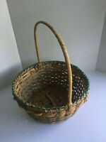 Vintage Large Wicker Basket With Handle Woven Bamboo Easter