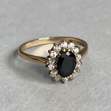 Vintage 9ct Gold Sapphire and Cubic Zirconia  Cluster Ring Size N.5