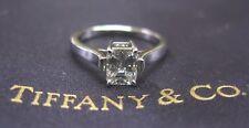 Tiffany & C Platinum Emerald Cut Diamond Engagement Solitaire Ring .83Ct H-VVS2